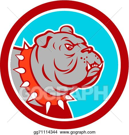 Vector Illustration - Angry bulldog mongrel head cartoon