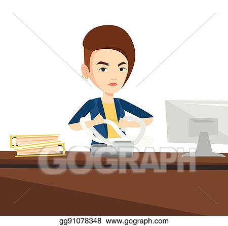 Vector Art Angry Business Woman Tearing Bills Or Invoices