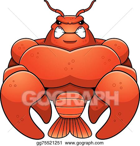 vector stock angry cartoon muscular crawfish clipart illustration rh gograph com  crawfish clipart