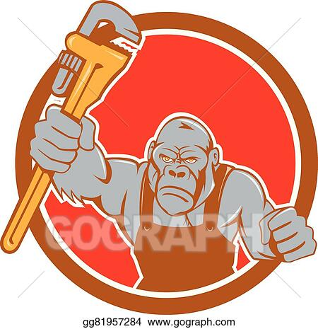 Vector Art Angry Gorilla Plumber Monkey Wrench Circle Cartoon Eps Clipart Gg81957284 Gograph