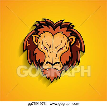 vector illustration angry lion face mascot stock clip art