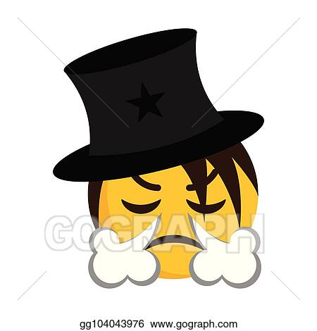 Vector Illustration - Angry magician emoji blowing wind from