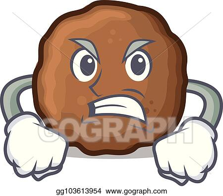 Vector Illustration Angry Meatball Mascot Cartoon Style Stock
