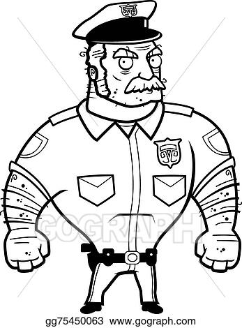 Vector Art Angry Police Clipart Drawing Gg75450063 Gograph