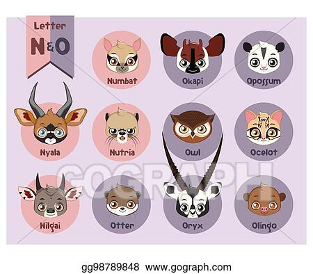 Image of: Abc Animal Portrait Alphabet Letter And Gograph Vector Clipart Animal Portrait Alphabet Letter And O Vector