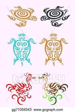 99b752af6bc24 Vector Stock - Animal set art tribal design, turtle rooster, bird and  tortoise shell, easy to use for your tattoo design. vector file.