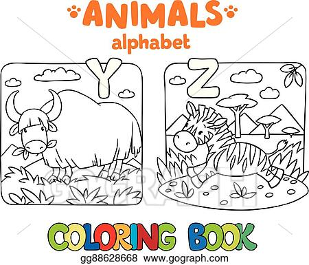 Vector Stock - Animals alphabet or abc. coloring book. Stock Clip ...