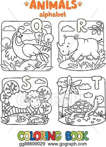 Vector Stock - Animals alphabet or abc. coloring book. Stock ...