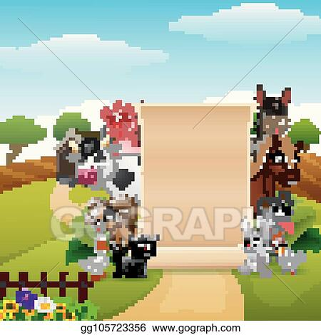 clip art vector animals farm with a blank sign paper roll up
