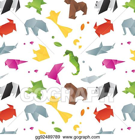 Vector Set Origami Animals Colored Contours Stock Vector (Royalty ... | 466x450