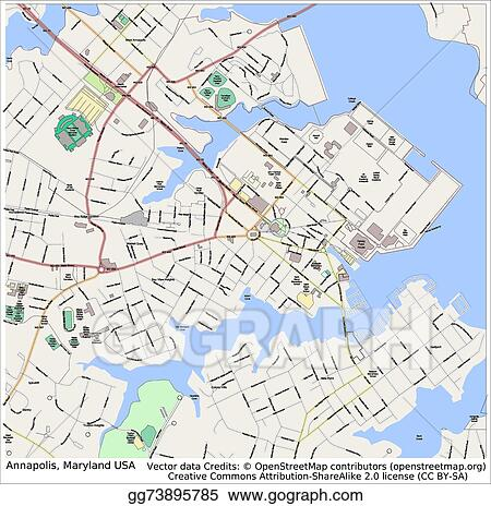 Maryland On Usa Map.Vector Illustration Annapolis Maryland Usa City Map Eps Clipart