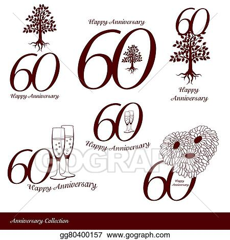 vector art anniversary 60th signs collection clipart drawing