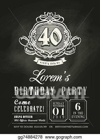 Vector Art Anniversary Birthday Invitation Card Chalkboard