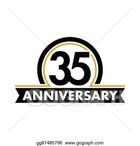 Eps Vector Anniversary Vector Unusual Label Thirty Fifth