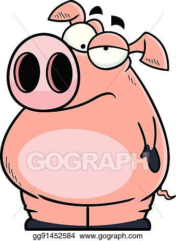 vector art annoyed cartoon pig clipart drawing gg91452584 gograph rh gograph com