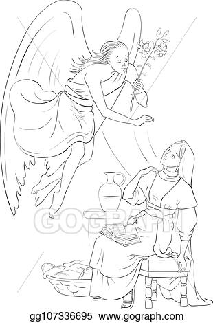 Vector Art Annunciation Coloring Page Angel Gabriel Announcement