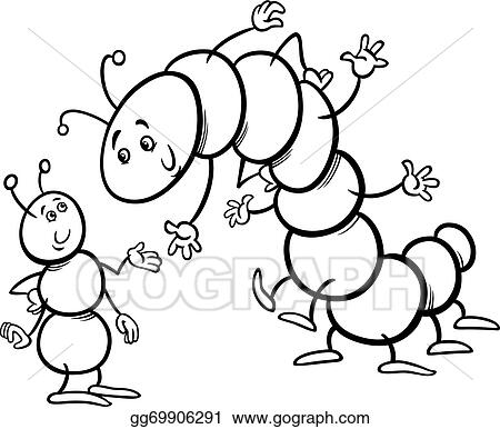Eps Vector Ant And Caterpillar Coloring Page Stock