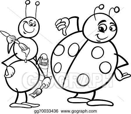 Vector Illustration Ant And Ladybug Coloring Page Eps Clipart