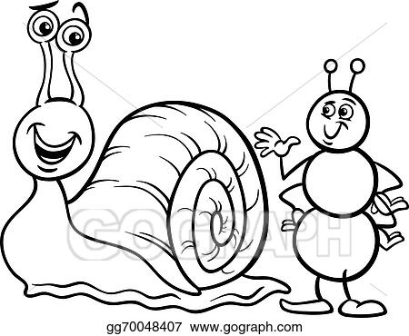 Eps Vector Ant And Snail Coloring Page Stock Clipart Illustration
