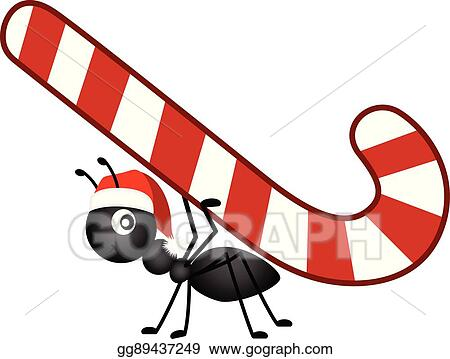 Christmas Candy Clipart.Eps Vector Ant Carrying A Christmas Candy Cane Stock