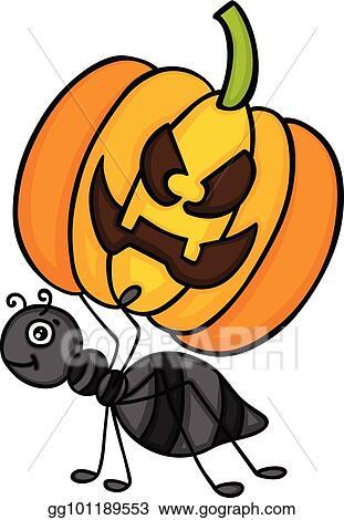 Halloween Pumpkin Images Clip Art.Vector Art Ant Carrying A Halloween Pumpkin Clipart
