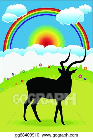 vector art antelope at the grasslands eps clipart gg68409910 rh gograph com grassland climate and weather grassland climate facts