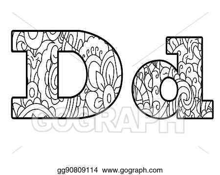 Anti Coloring Book Alphabet The Letter D Vector Illustration