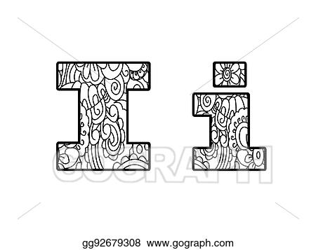 - Stock Illustration - Anti Coloring Book Alphabet, The Letter I Raster  Illustration. Clipart Drawing Gg92679308 - GoGraph