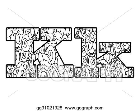 Vector Clipart - Anti coloring book alphabet, the letter k vector ...