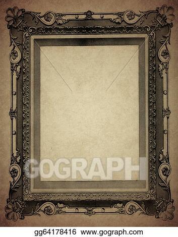 Stock Illustration - Antique frame on old paper. Clipart ...