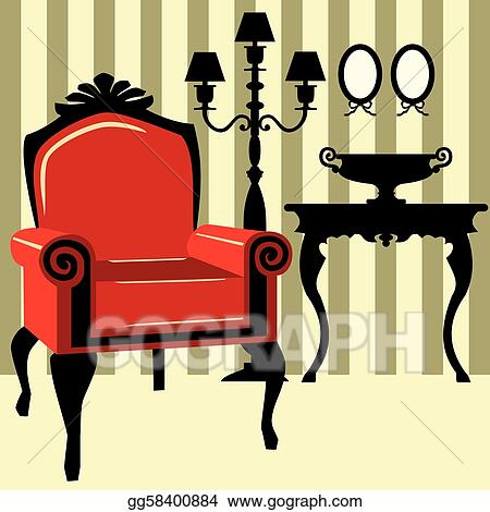 Awe Inspiring Eps Vector Antique Interior With Red Armchair Stock Home Interior And Landscaping Mentranervesignezvosmurscom