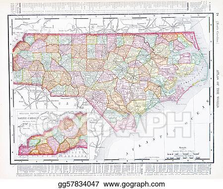 United States Map North Carolina.Stock Image Antique Map North Carolina Nc United States Usa