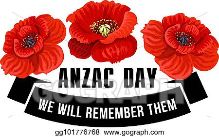 Vector Art Anzac Day Icon Of Poppy Flower With Black Ribbon Eps