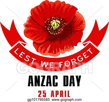 Vector Illustration Anzac Day Lest We Forget Card With Poppy