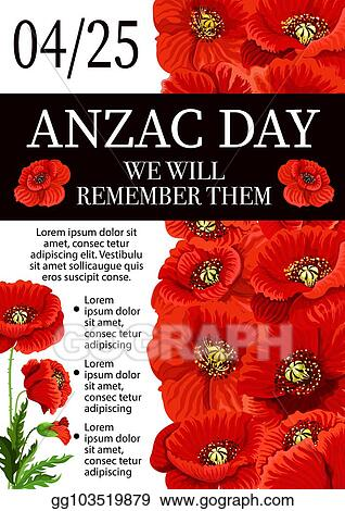 Vector Illustration Anzac Day Lest We Forget Remembrance Vector