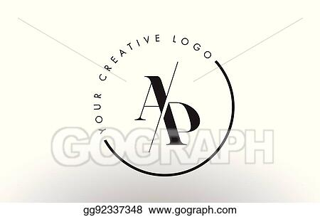 vector stock ap serif letter logo design with creative intersected