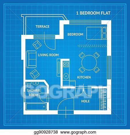 Eps illustration apartment floor plan blueprint vector vector apartment floor plan blueprint vector malvernweather Image collections