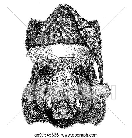 aper boar hog hog wild boar wearing christmas hat new year eve merry christmas and happy new year zoo life holidays celebration santa claus hat