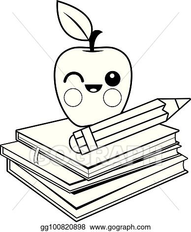 EPS Illustration - Apple, books and pencil. black and white coloring ...