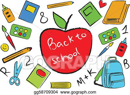 Back to school middle. Vector stock apple in