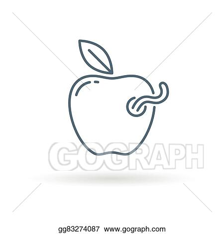 Eps Vector Apple Worm Icon On White Background Stock Clipart