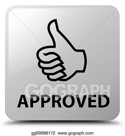 Clipart Approved Thumbs Up Icon White Square Button Stock