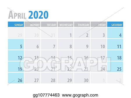 Vector Art - April  calendar planner 2020 in clean minimal table