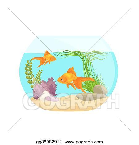Vector Clipart - Aquarium fish, seaweed underwater, marine animal ...