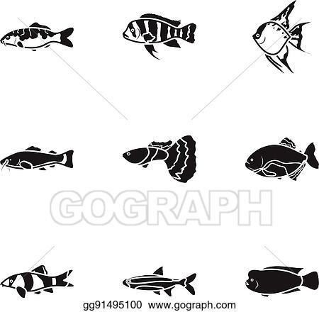 Vector Art Aquarium Fish Set Icons In Black Style Big Collection