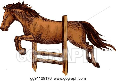 vector art arabian brown horse racing jumping over barrier rh gograph com Horse Silhouette Clip Art Western Horse Clip Art