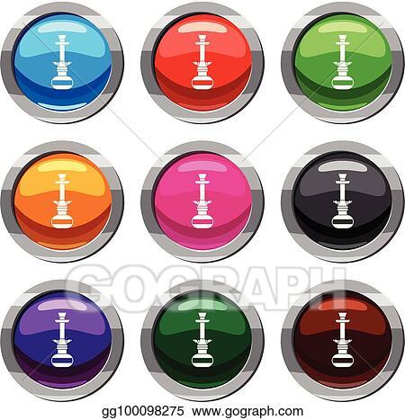Clip Art Vector - Arabic hookah set 9 collection  Stock EPS