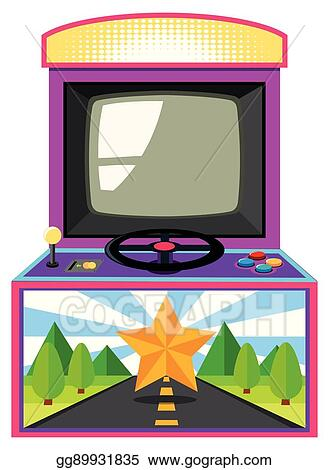 Clip Art Vector Arcade Game Box With Screen And Wheel