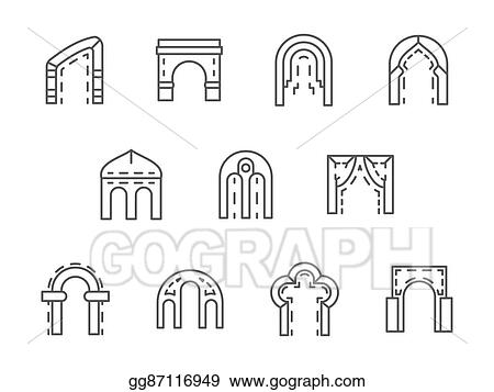 Clip Art Vector - Arches black line vector icons set  Stock