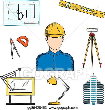 Vector Art Architect Or Engineer With Construction Symbols